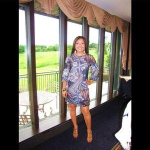 Walter chiffon tribal print dress size M